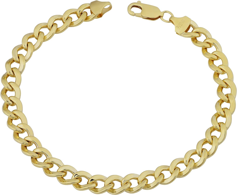 Kooljewelry 14k Yellow Gold Filled Polish Miami Cuban Curb Link Chain Bracelet (7.4 mm, 9 inchs)