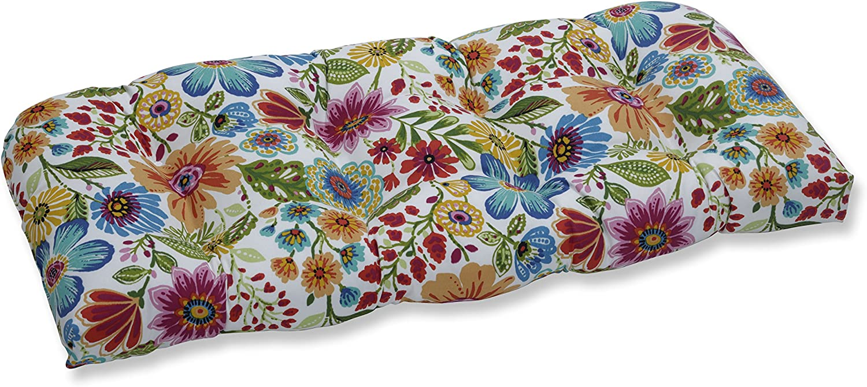 Pillow Perfect Outdoor Indoor Gregoire Prima Wicker Loveseat Cushion, Blue, 44 X 19 X 5