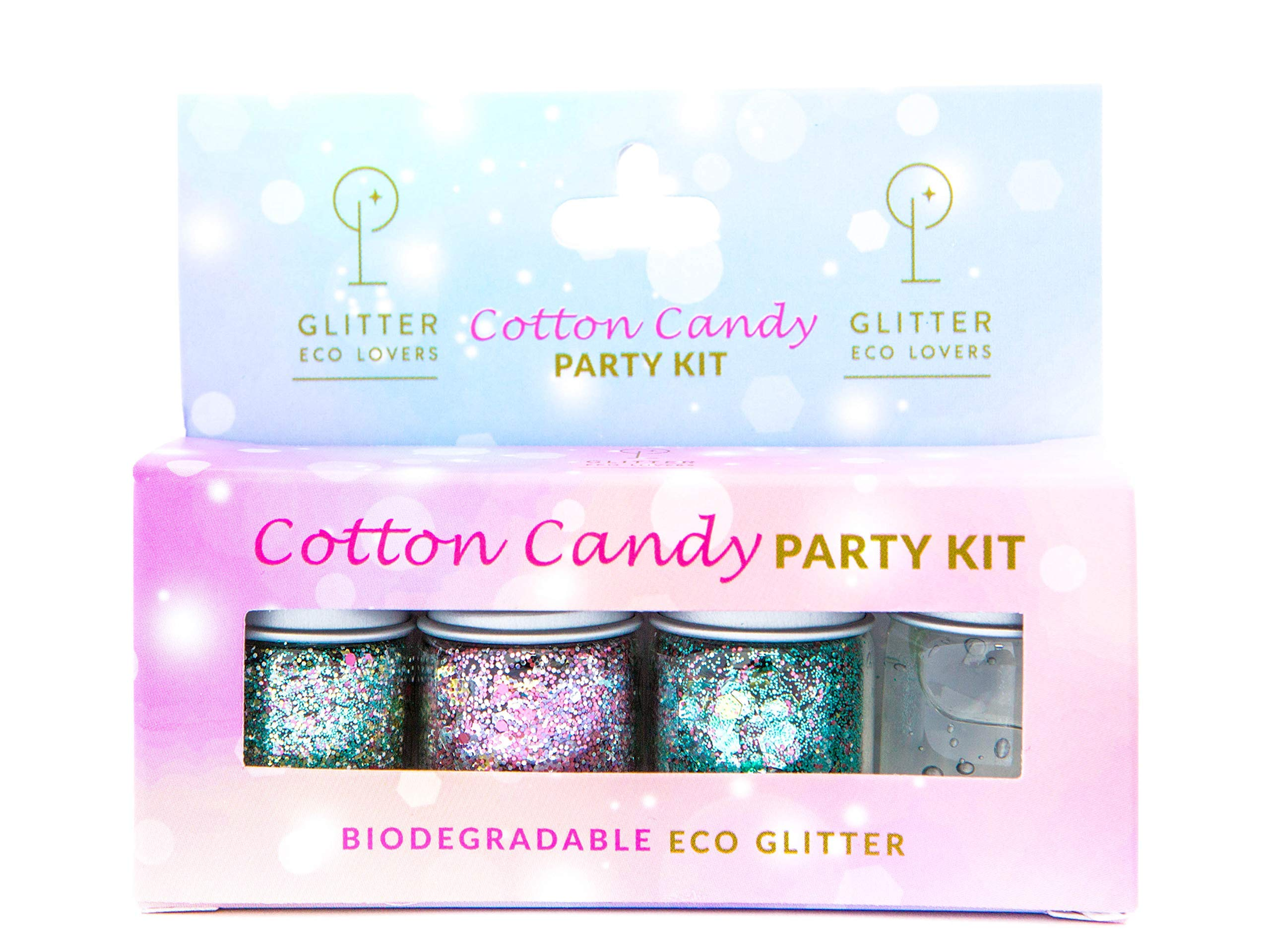 Eco glitter PARTY KIT for skin, hair and nails - set of 3 glitter mixes (4g each) + 1 aloe vera glitter fix - perfect for holidays, festivals and parties where you glitter up.