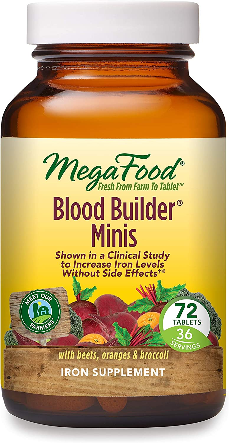 MegaFood, Blood Builder Minis, Daily Iron Supplement and Multivitamin, Supports Energy and Red Blood Cell Production Without Nausea or Constipation, Gluten-Free, Vegan, 72 Tablets