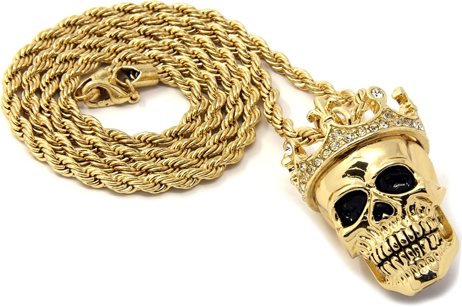 """Hip-Hop Pendant 24/"""" Rope Chain Necklace NP 14k Gold Plated SKELETON W// GUITAR"""
