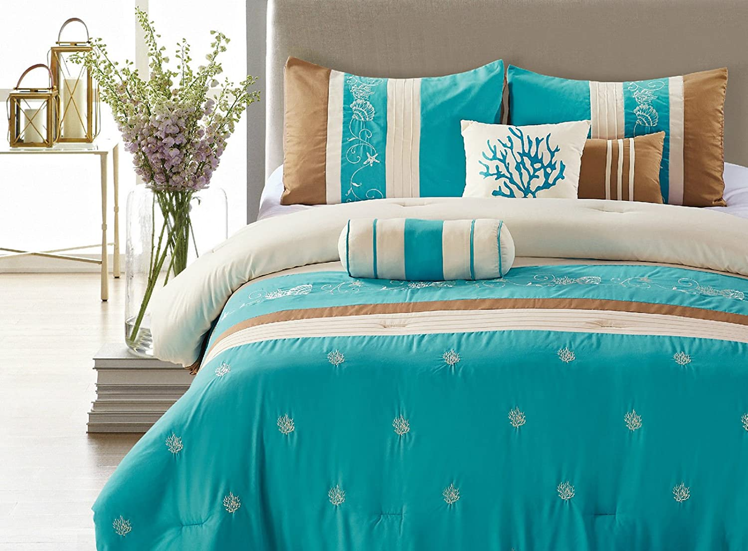 Nice Blue Coast 7 Piece Embroidered Comforter Set Blue U0026 Brown Queen