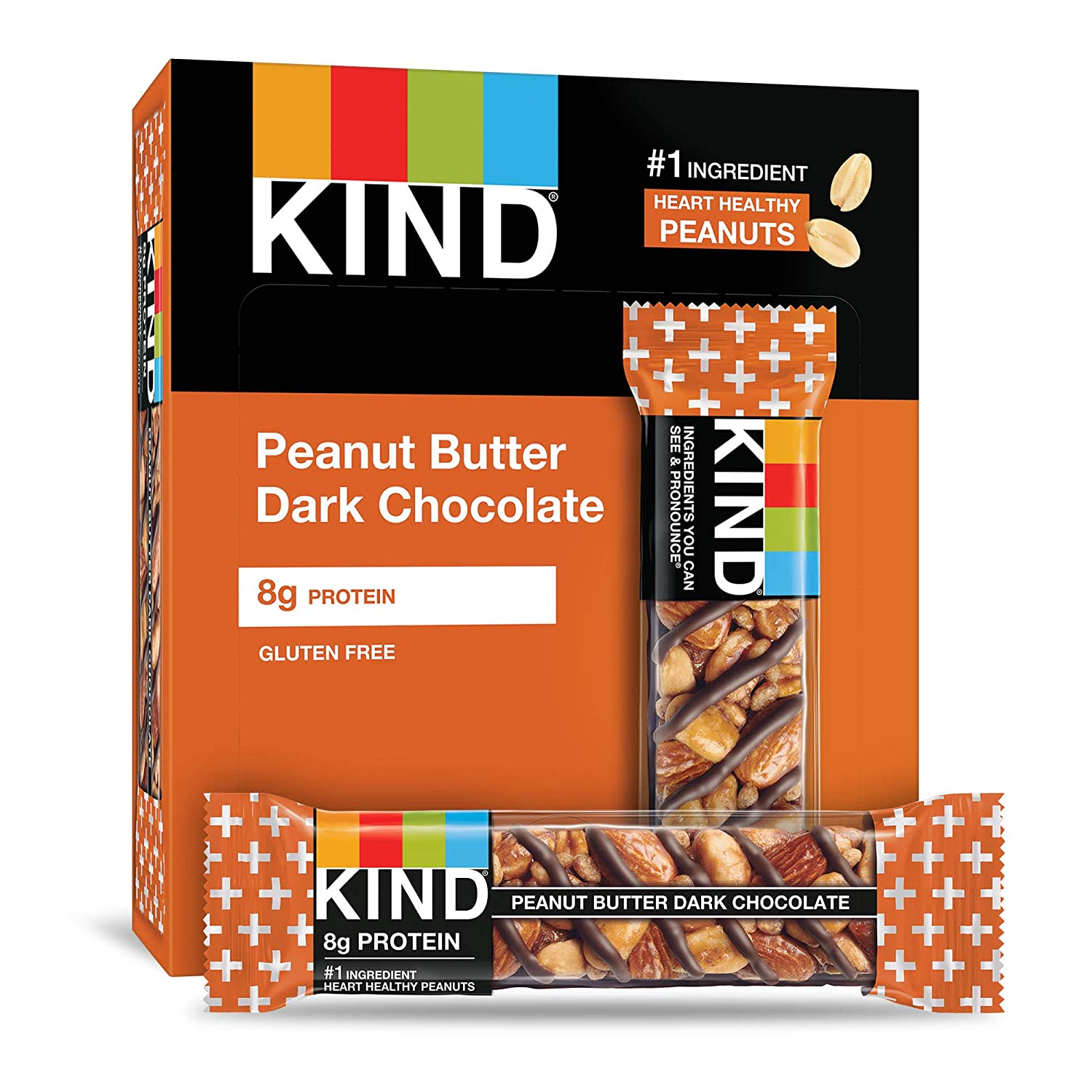 B003TNANSO KIND Bars, Peanut Butter Dark Chocolate, Gluten Free, 1.4oz, 12 Count 81J-PpSNaWL