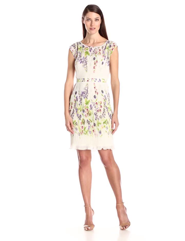 Julian Taylor Women's Sleeveless Floral Printed Pleated Dress, Ivory/Lilac, 14