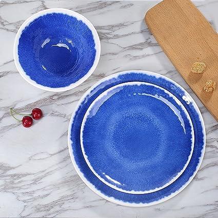 Melamine 18Pcs Dinnerware Set - Hware Dinner Plates Set for Everyday UseService for 6  sc 1 st  Amazon.com & Melamine 18Pcs Dinnerware Set - Hware Dinner Plates Set for Everyday UseService for 6 Blue