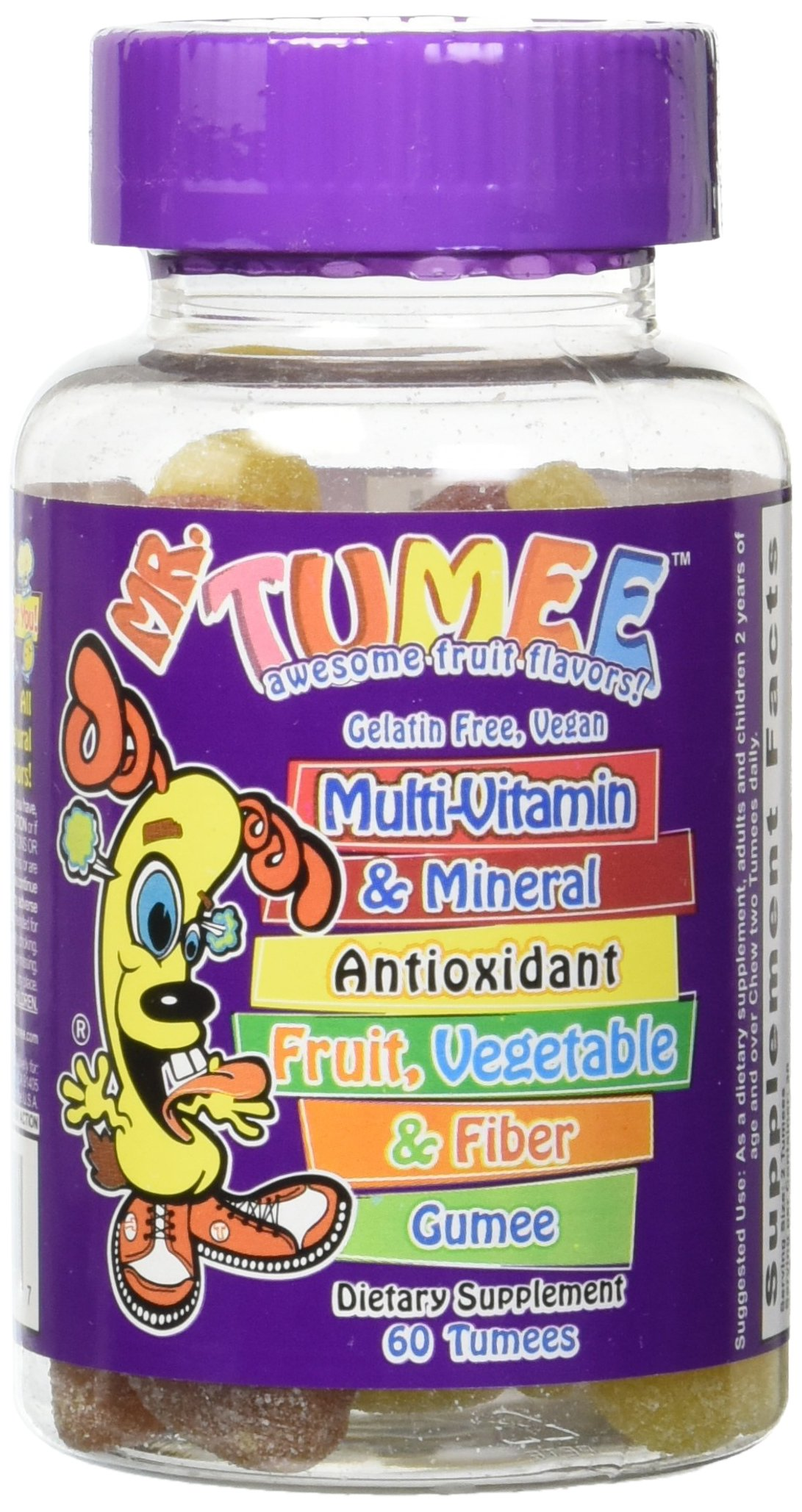 Mr. Tumee Multivitamin & Mineral Fruits Vegetables & Fiber Gumee, Strawberry/Lemon/Orange/Grape/Cherry/Grapefruit, 60 Count