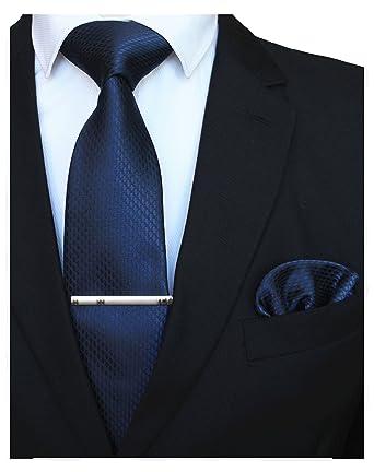 28596f412b7d RBOCOTT Mens Navy Tie Silk Necktie and Pocket Square With Tie Clip Set(2)