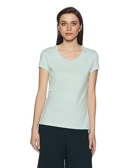 80bf4ca5a7b Jockey Women s Plain Regular Fit T-Shirt (1359-0105-BUTML Blue Tint  Melange Small