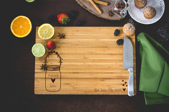 Personalized Cutting Board Bride & Groom Mason by CustomGiftcom