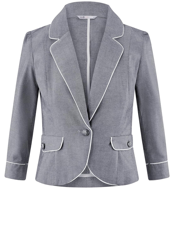 oodji Ultra Donna Blazer in Cotone con Finiture a Contrasto  Amazon.it   Abbigliamento 13693871895