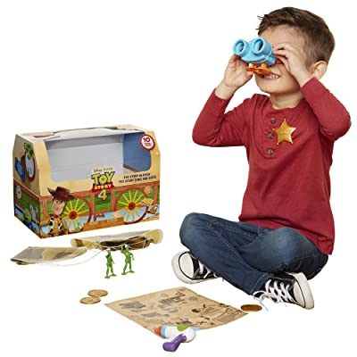 Toy Story Disney 4 Trunk, in A Box! 10Piece Woody Inspired Toy Chest - Includes Lenny The Binoculars, Buzz Lightyear Blaster, Woody's Roundup Map & More!: Toys & Games