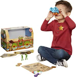 Toy Story 4 Trunk, Woody in A Box - 10Piece Toy Chest - Includes Lenny The Binoculars, Buzz Lightyear Laser Blaster, Woody's Roundup Map & More!