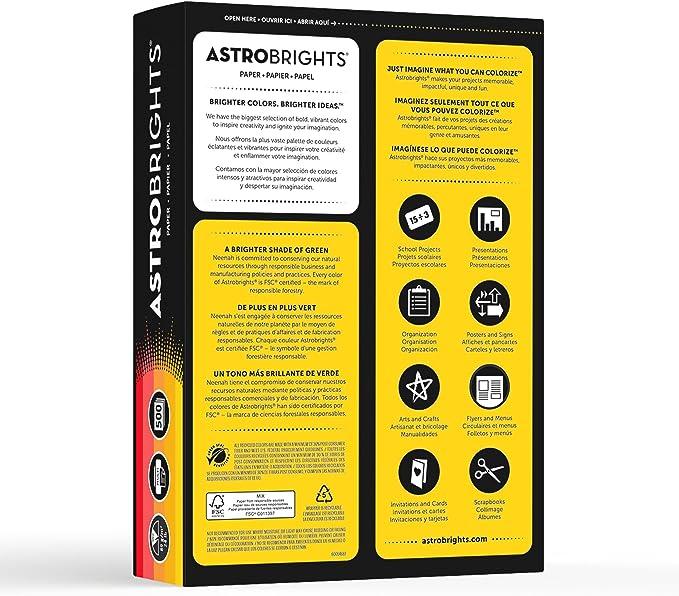 Astrobrights Color Paper 20274 8.5 x 11 24 lb// 89 gsm,Cool 5-Color Assortment 500 Sheets