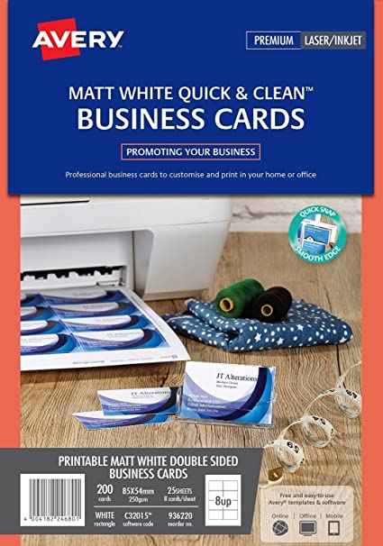 Avery C32015-10 Printable Double-Sided Business Cards 8 Cards Per A4 Sheet