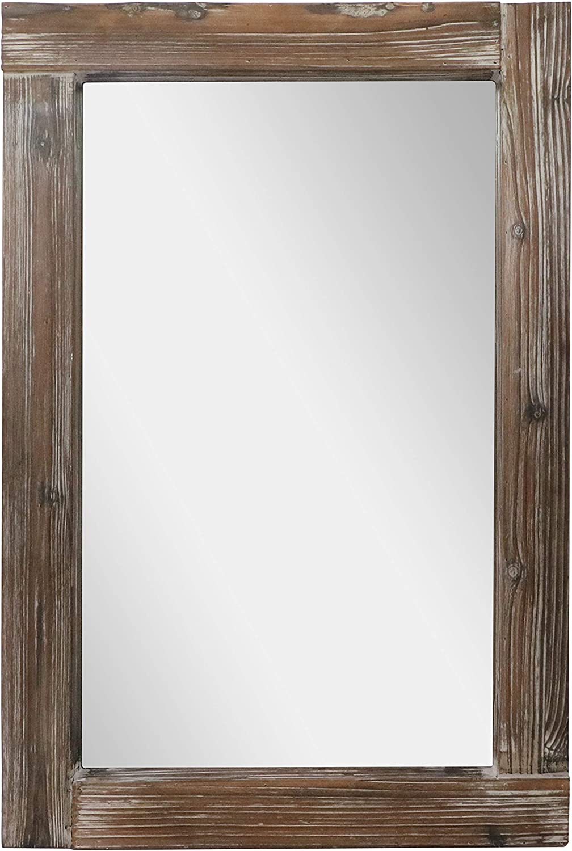 "Barnyard Designs Decorative Long Wall Hanging Mirror Rustic Vintage Farmhouse Distressed Wood Mirror Wall Decor 36"" x 24"""