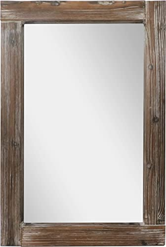Barnyard Designs Decorative Long Wall Hanging Mirror Rustic Vintage Farmhouse Distressed Wood Mirror Wall Decor 36 x 24
