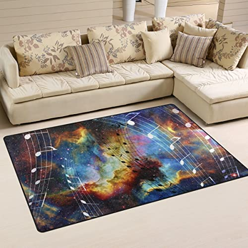 WOZO Music Note Space Stars Nebula Area Rug Rugs Non-Slip Floor Mat Doormats Living Dining Room Bedroom Dorm 60 x 39 inches inches Home Decor