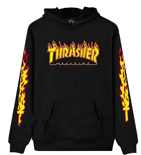 THRASHER Sudadera - para Hombre Nero/FIAMME L: Amazon.es: Ropa y accesorios