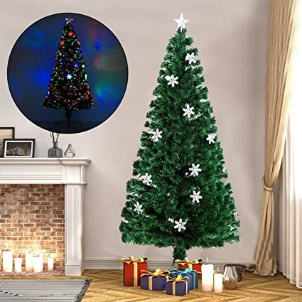 4cb2bd5e1a69 Amazon.com: HomCom 6' Artificial Holiday Decoration Snowflake Light ...