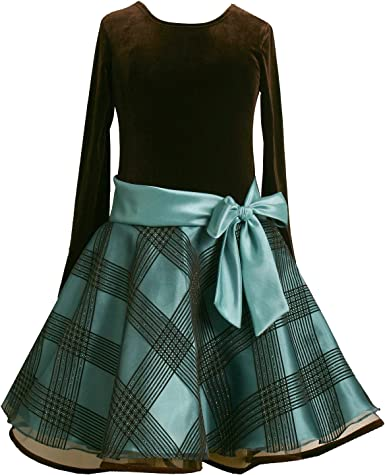 Amazon.com: Bonnie Jean Girls 7-16 TEAL-BLUE BROWN VELVET GLITTERED FLOCK  ORGANZA Special Occasion Holiday Party Hipster Dress-16 BNJ-5176X-X45176:  Clothing