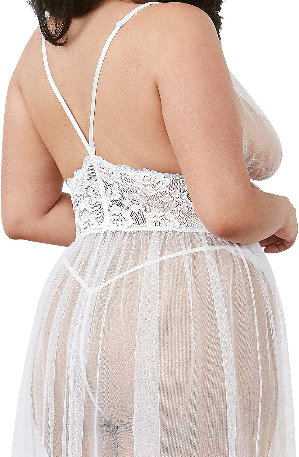 Dreamgirl Women's Plus Gown, White, One Size Queen: Clothing