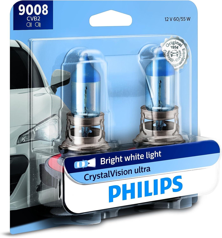 Philips 9008CVB2CrystalVision Ultra Upgrade Bright White Headlight Bulb, 2 Pack