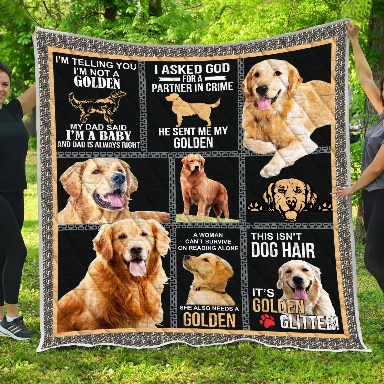 VTH Global Golden Retriever 3D Quilt Pattern Blanket All-Season Quilts Comforters with Reversible Cotton King Queen Full Twin Size Quilted Africa Gifts