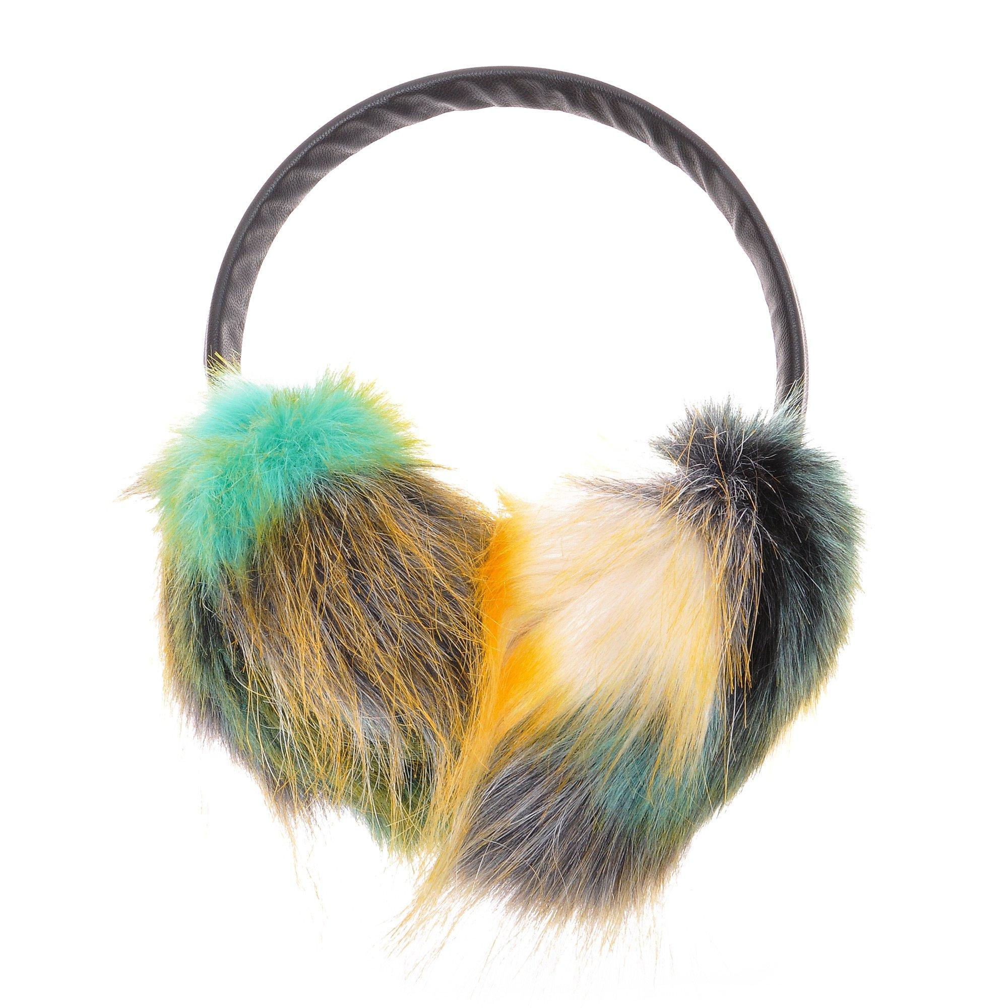 ZLYC Womens Girls Winter Fashion Dye Neon Color Faux Fur EarMuffs Adjustable Ear Warmers, Green