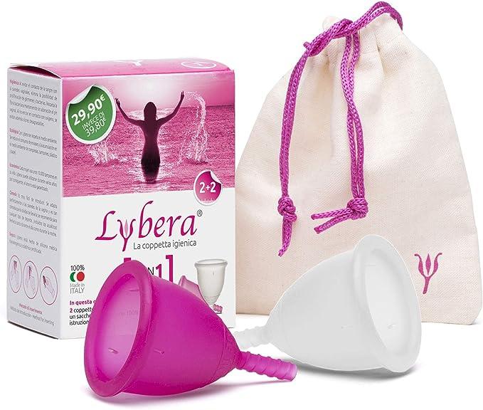 Lybera, Juego de 2 copas menstruales fabricadas en Italia ...
