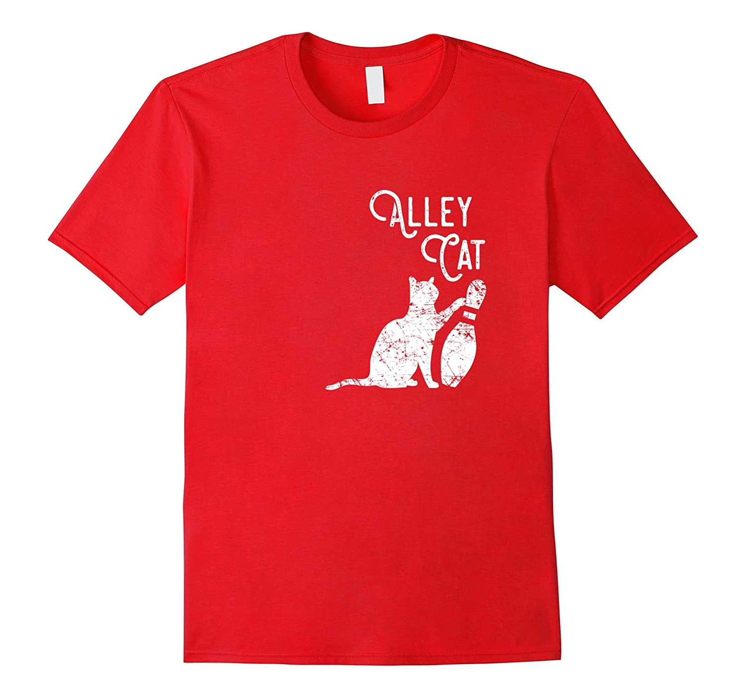 Ornery Alley Cat Tipping Bowling Pin Shirt Funny Team Gift-TH