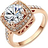Yoursfs Red Halo Rings for Women Big Zircon CZ Zirconia Stone Engagement Jewelry Gift
