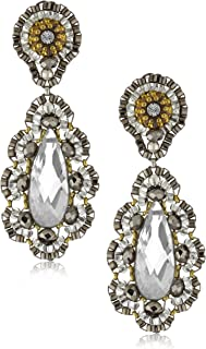 product image for Miguel Ases Pyrite Bead 14k Gold-Filled Embroidered Drop Earrings