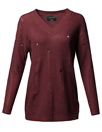 c448099270 Awesome21 Casual Solid Stretch Long Sleeve V-Neck Distressed Knit Sweater  Burgundy Size S