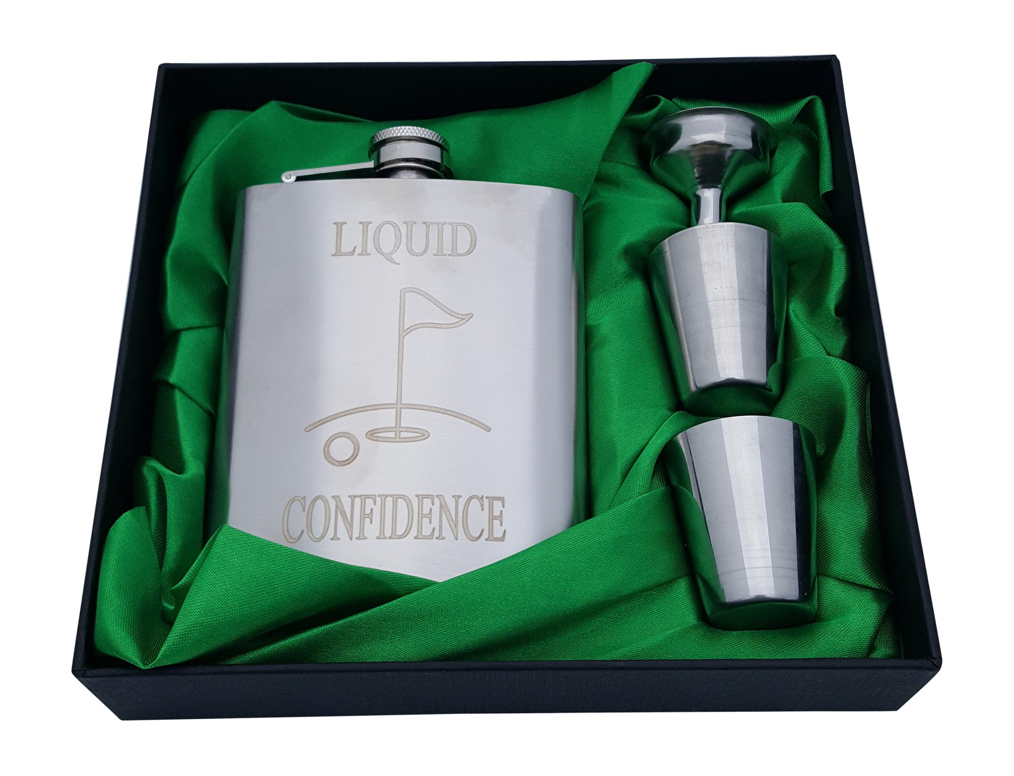 Golf Flask Gift Set - 7 oz Flask Engraved with''Liquid Confidence''