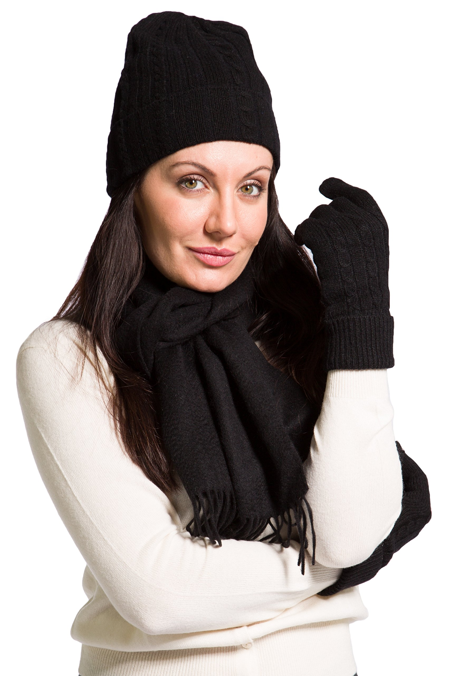 Fishers Finery Women's 100% Cashmere Hat Glove and Scarf Set; Perfect Gift Black
