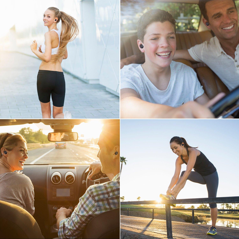 Ecouteurs Bluetooth sans Fil Sport, Oreillette Charge Magnétique, Continue Pendant 60 Heures Automatique Appariement,450mAh Boîtier de Chargement 10h Truefree Antibruit pour iOS et Android