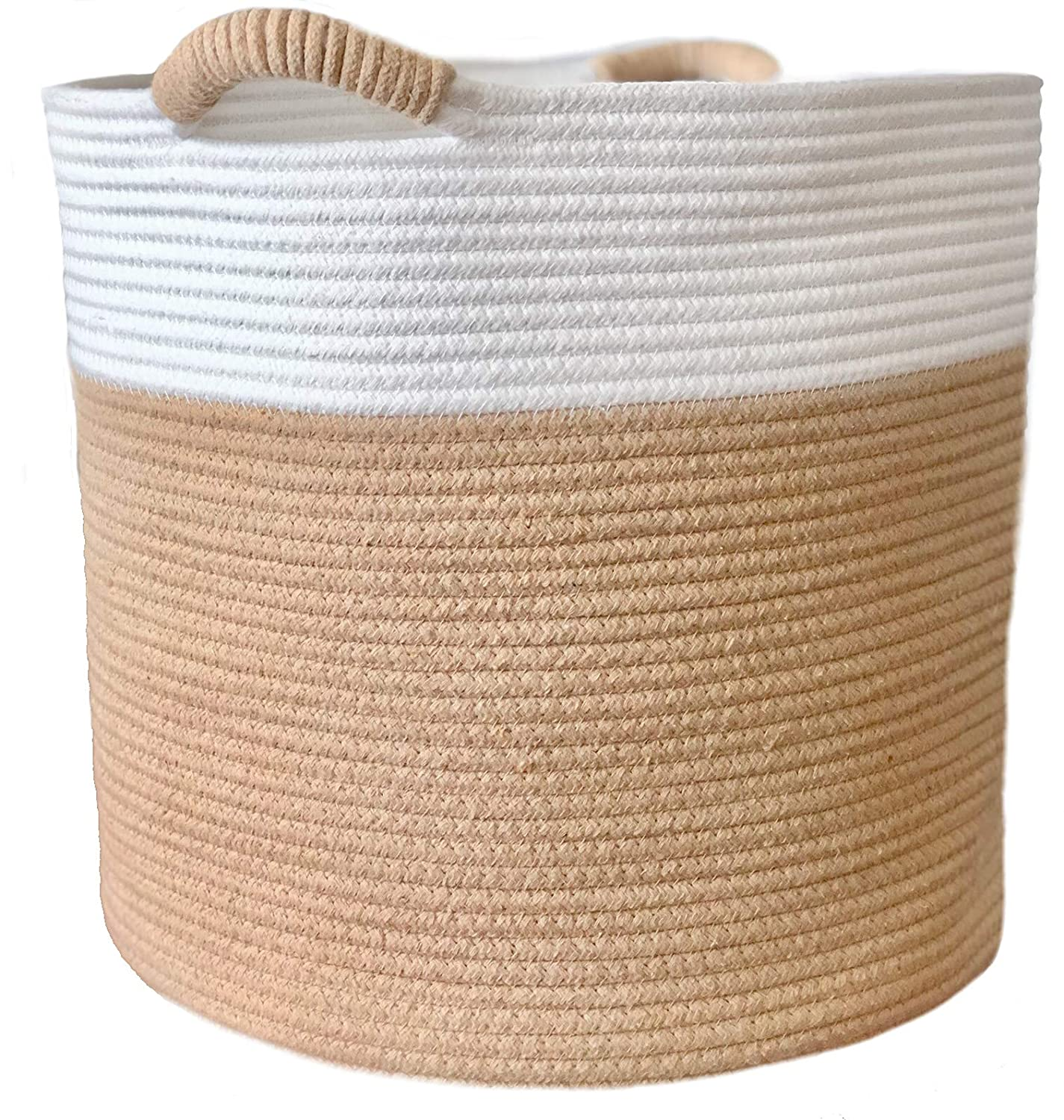"Woven Cotton Rope Storage Basket with Handles |Large 15""x15""x14"" Organic Nursery Hamper