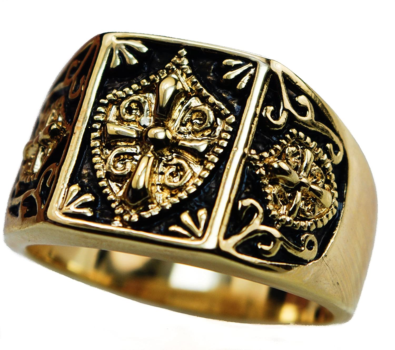 Amazon Knight s Templar Shield Crest Cross Men s ring 18K
