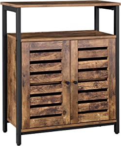 VASAGLE LOWELL Standing Cabinet, Storage Cabinet, Accent Side Cabinet with Shelf, Cupboard with Louvered Doors, Multifunctional in Living Room, Bedroom, Hallway, Rustic Brown ULSC76BX