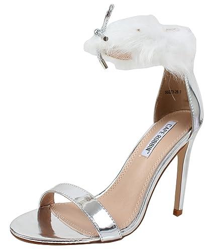 2f7496529cb CAPE ROBBIN Women s Open Toe Wide Strap Furry Ankle Strap Stiletto High Heel  Sandal (5.5