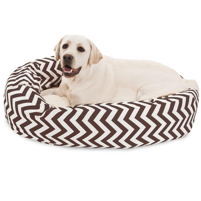 40 inch Chocolate Chevron Sherpa Bagel Dog Bed