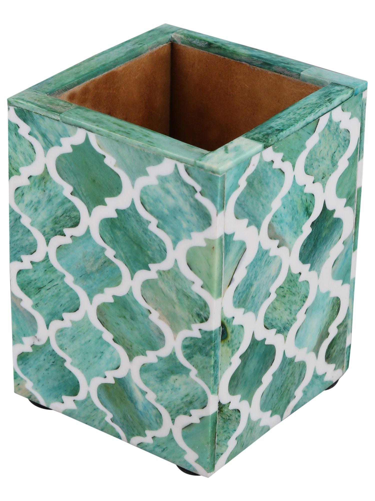 Moroccan & Moorish Art Inspired Desktop Pen & Pencil Holder Cups Office Supplies Organizer Caddy from Handicrafts Home (4x3x4 inches, Green)