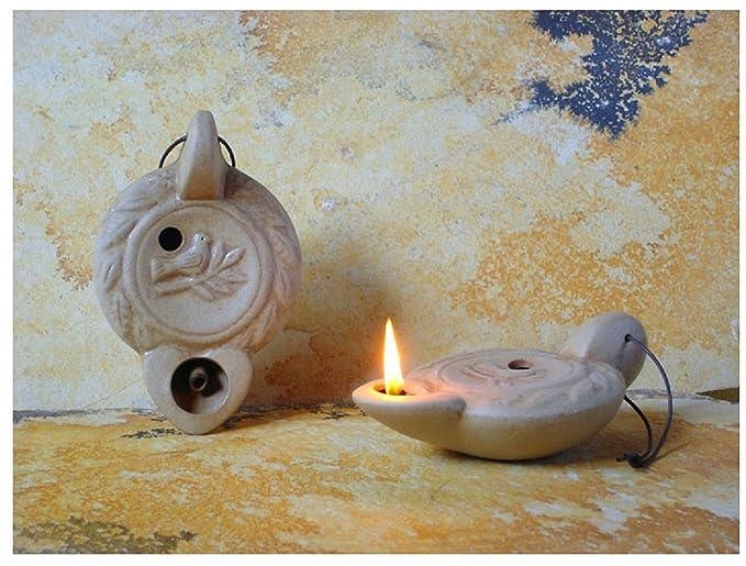 Lampade Ad Olio Per Esterni : Lampada ad olio in ceramica antico disegno 1 fiamma beige fatto