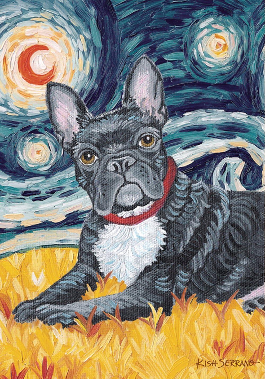 Toland Home Garden Van Growl French Bulldog 28 x 40 Inch Decorative Puppy Dog Portrait Starry Night House Flag