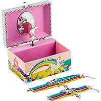 Kids Unicorn Musical Jewellery Box Girls Gift Plus Mum and Daughter Bracelet Set, 3 Rainbow Unicorn Gifts For Girls…