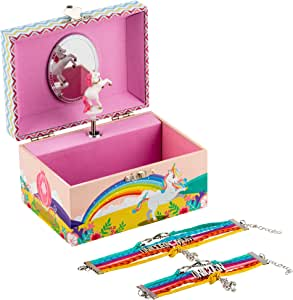 Kids Unicorn Musical Jewellery Box Plus Mum and Daughter Bracelet Set, 3 Rainbow Unicorn Gifts For Girls, Best Friend, Sister, Niece Or Granddaughter, Music Box Plays Over The Rainbow - LW KIDS Creations