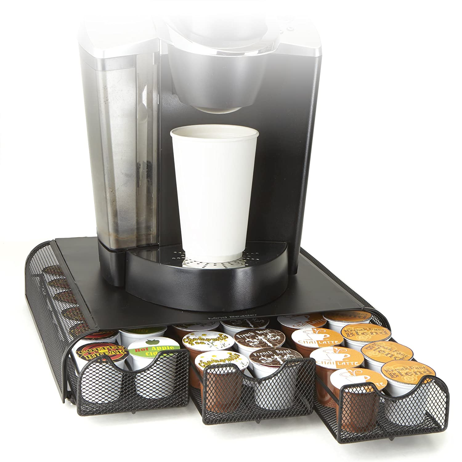 Mind Reader 'Anchor' Coffee Pod Triple Drawer 36 Capacity, Black Metal Mesh