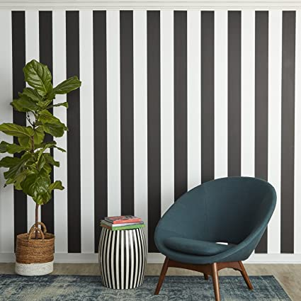 Tempaper St525 Stripe Removable Peel And Stick Wallpaper 20 5 X 33 Black And White