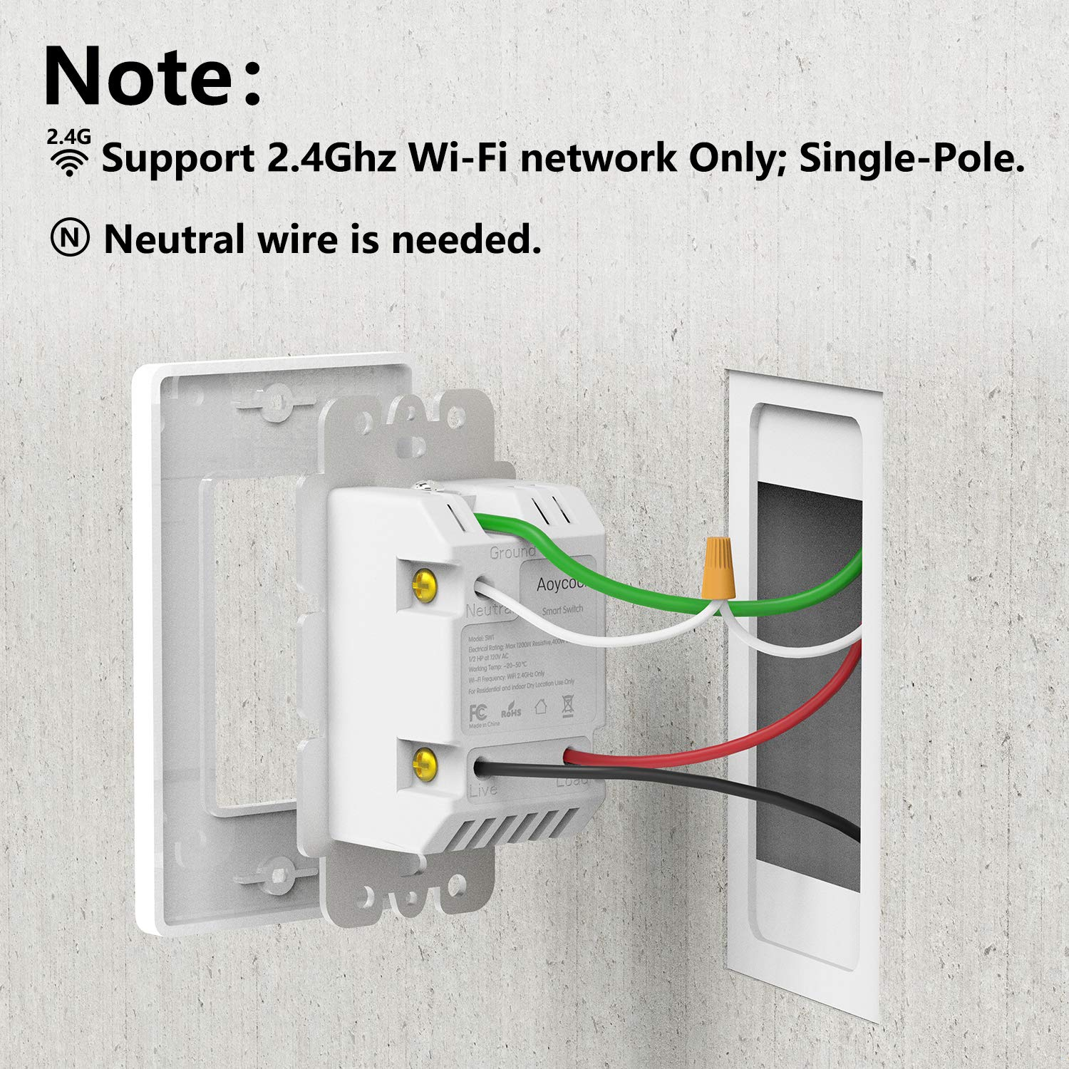Smart Light Switch, Aoycocr In-Wall Smart Home Switch with Remote Control on gfci outlet wiring, single pole light, single pole gfci, single pole generator, single pole capacitor,