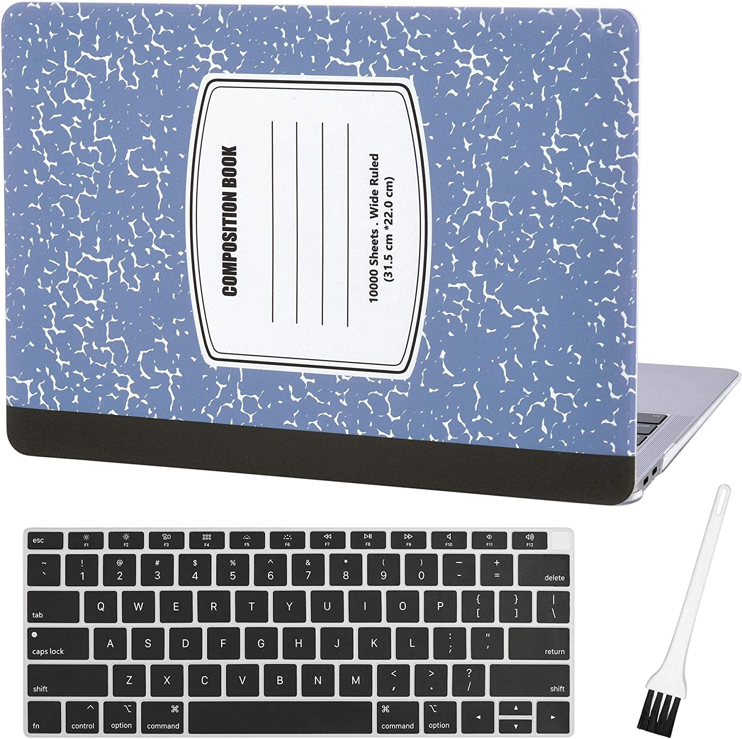 "MacBook air 13 Laptop Case for New MacBook Air 13"" Retina (2018, Touch ID) w/Keyboard Cover Plastic Hard Shell Sleeve A1932 with Silicon Keyboard Cover and dust Brush (Notebook Pattern-Light Blue)"